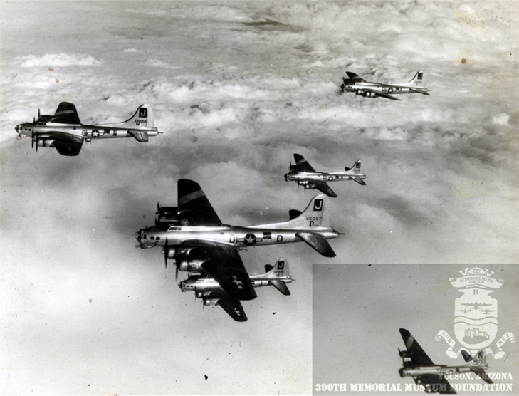 B-17s of the 390th Bomb Group. (Source: 390th Memorial Museum)